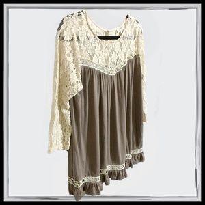 NWT Umgee Lace-Cream/Gray-Boho Tunic Top Medium